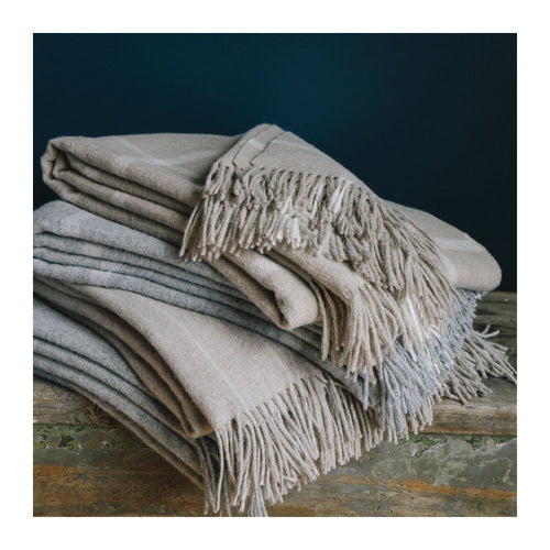 MERINO LAMBSWOOL THROW - STRIPE GREY/BLUSH
