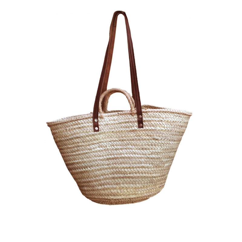 ISABELLA FRENCH MARKET BASKET WITH LEATHER HANDLES
