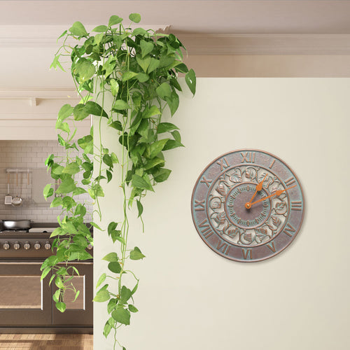 IVY SILHOUETTE OUTDOOR WALL CLOCK - COPPER VERDIGRIS