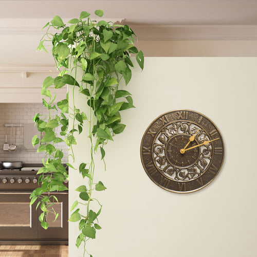 IVY SILHOUETTE OUTDOOR WALL CLOCK - FRENCH BRONZE