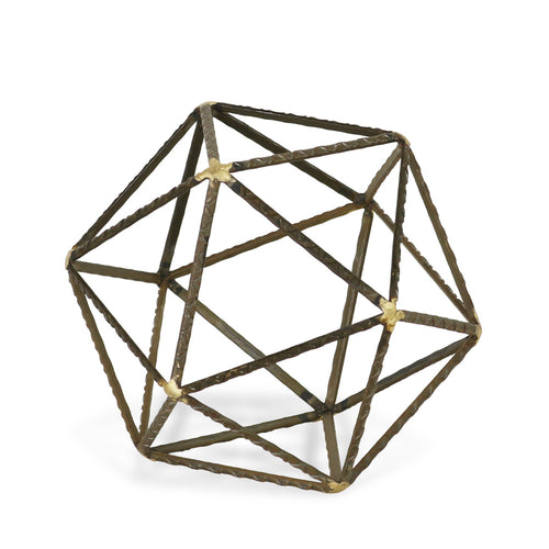ROBINSON LARGE POLYGON SCULPTURE  - GREY & GOLD