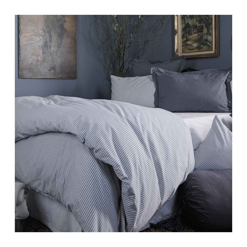 MATTEO BLACK TICK COTTON DUVET COVER