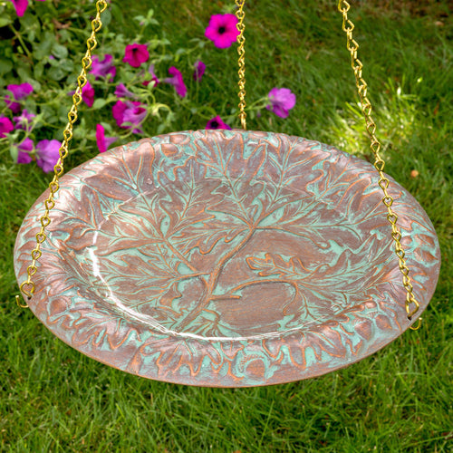 OAK LEAF HANGING BIRDBATH - COPPER VERDIGRIS