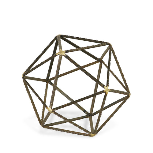 ROBINSON SMALL POLYGON SCULPTURE - GREY & GOLD