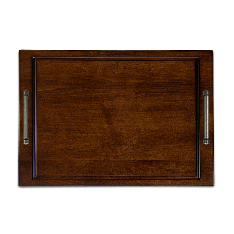 SOLANO TOBACCO BROWN SERVING TRAY WITH DISTRESSED PEWTER HANDLES
