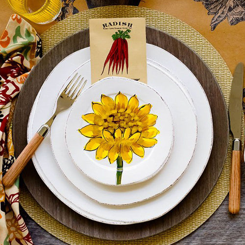 VIETRI LASTRA SUNFLOWER CANAPE PLATE – SET OF 4