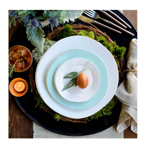 VIETRI LASTRA WHITE CANAPE PLATE - SET OF 4