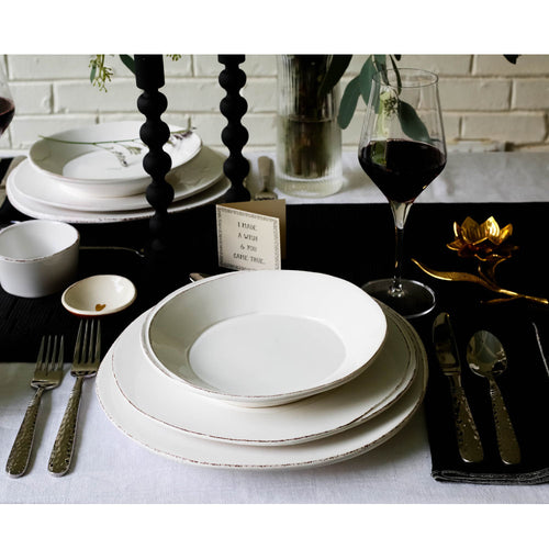 VIETRI LASTRA WHITE 16-PIECE PLACE SETTING