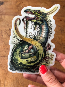 """Green Dragon"" sticker by Ellie Gill"