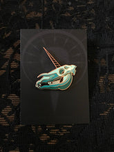 Load image into Gallery viewer, Unicorn Skull Pin by Erin Chance