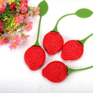 1 PCS Kitchen Supplies Tea Strainer Non-toxic Strawberry Shape Silicone Tea Infuser Tea Bag Teapot Accessory