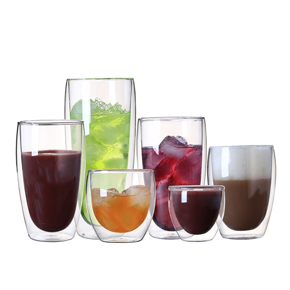 Double Wall Glass Creative Coffee Teacup Juice Mugs Milk Cafe Cup 1pc 80-650ml Heat-resistant Beer Swig Cocktail Glasses Verre