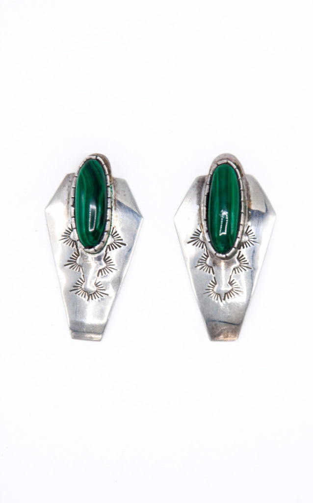 Malachite Stamped Earrings - Bow&Arrow