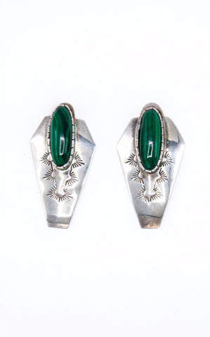 Malachite Stamped Earrings