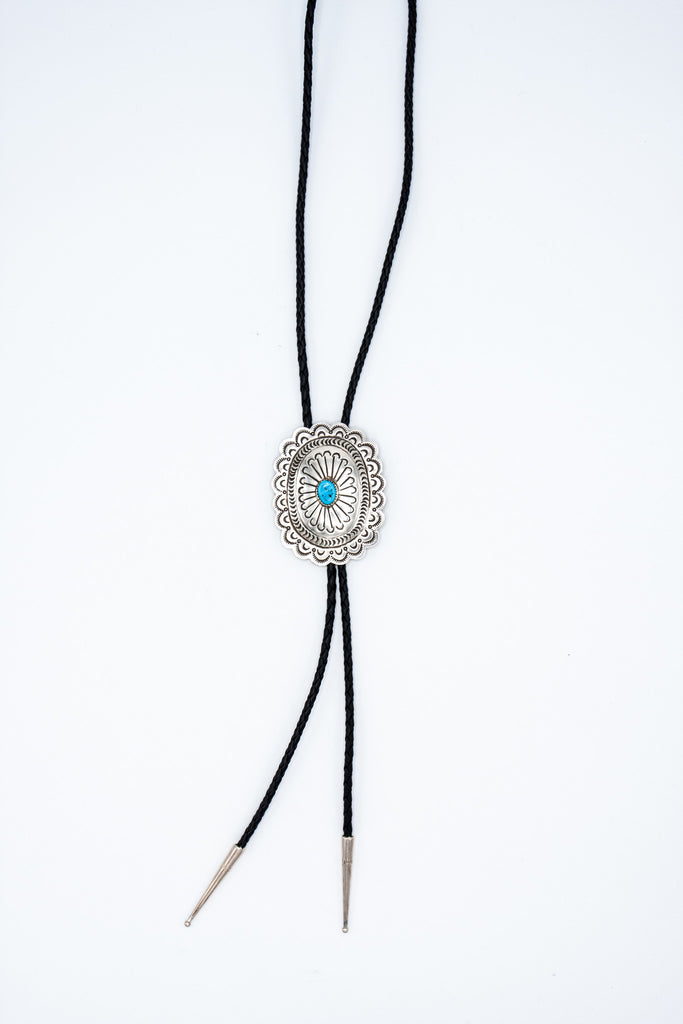 Stamped Concho Bolo Tie - Bow&Arrow