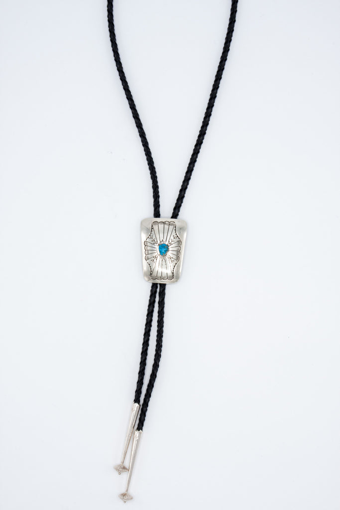 Stamped Turquoise Bolo Tie - Bow&Arrow