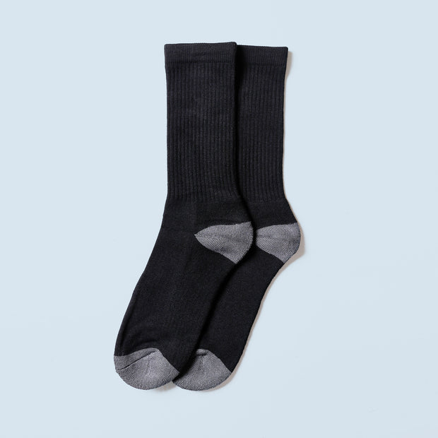 Bamboo Crew Sock - Black/Grey