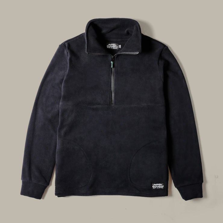 Field Zip  - Black Recycled Fleece
