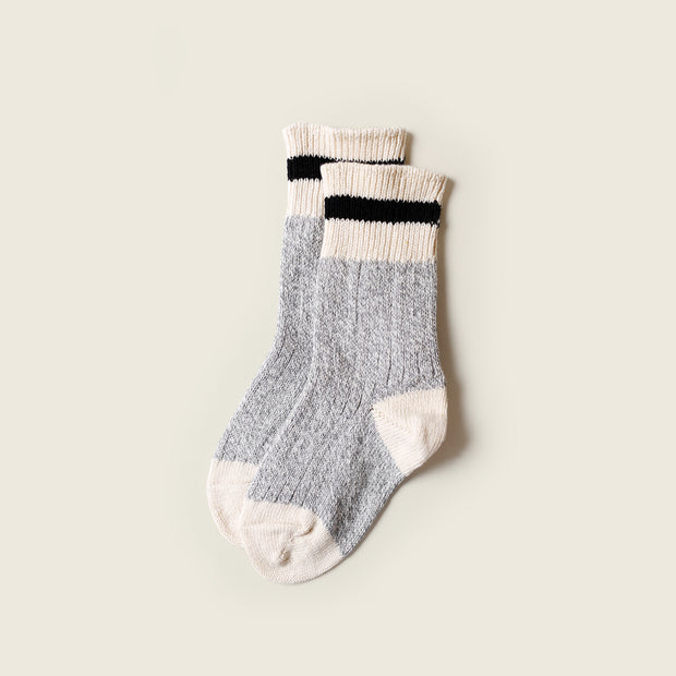 Kids Cotton Mountain Socks  - Black Stripe