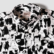 Short Sleeve Easy Shirt - Funny Cats - White