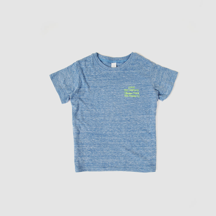 Kids Recycled Tee - Campsite - Heather Blue