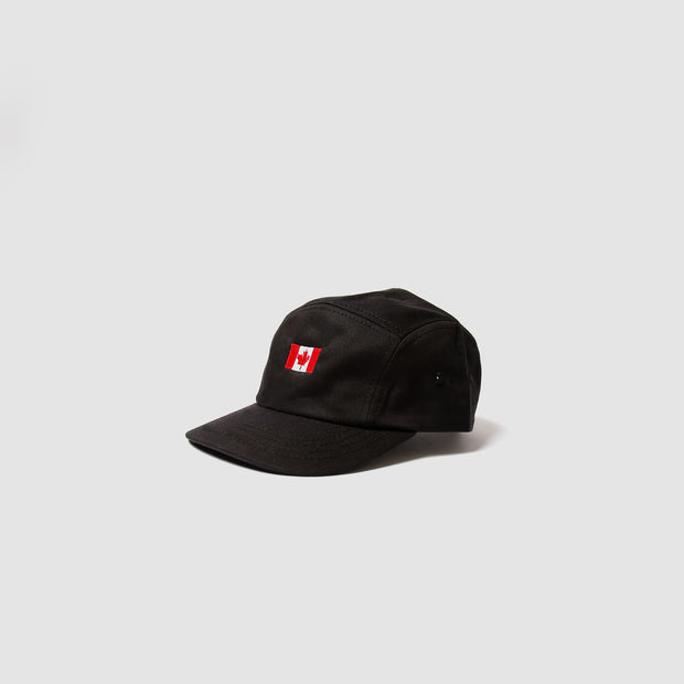 Kids 5 Panel - Black Embroidered Flag