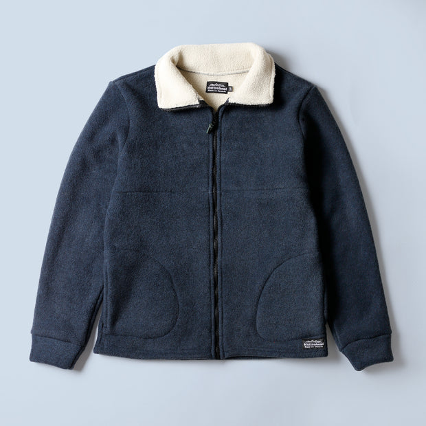 Alpine Full Zip Dual Layer Sherpa - Heather Navy
