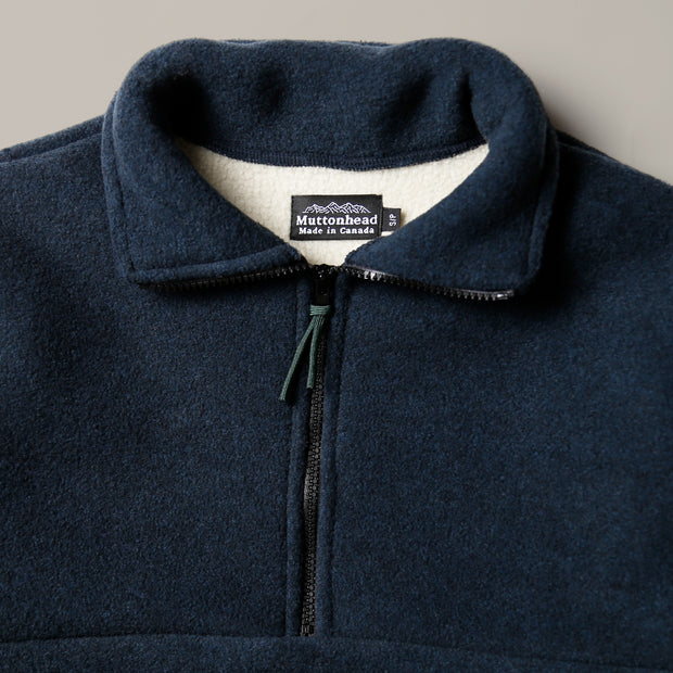 Alpine 1/4 Zip Dual Layer Sherpa - Heather Navy