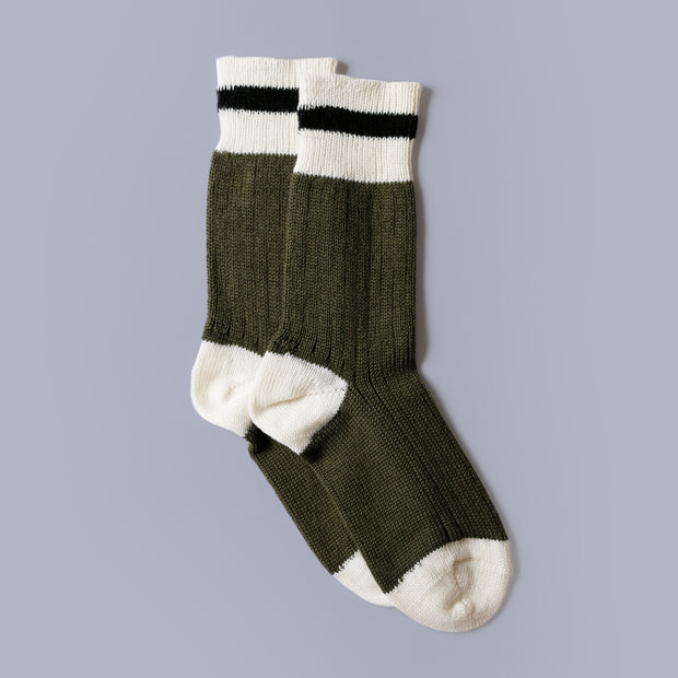 Mountain Socks - Olive Black Stripe