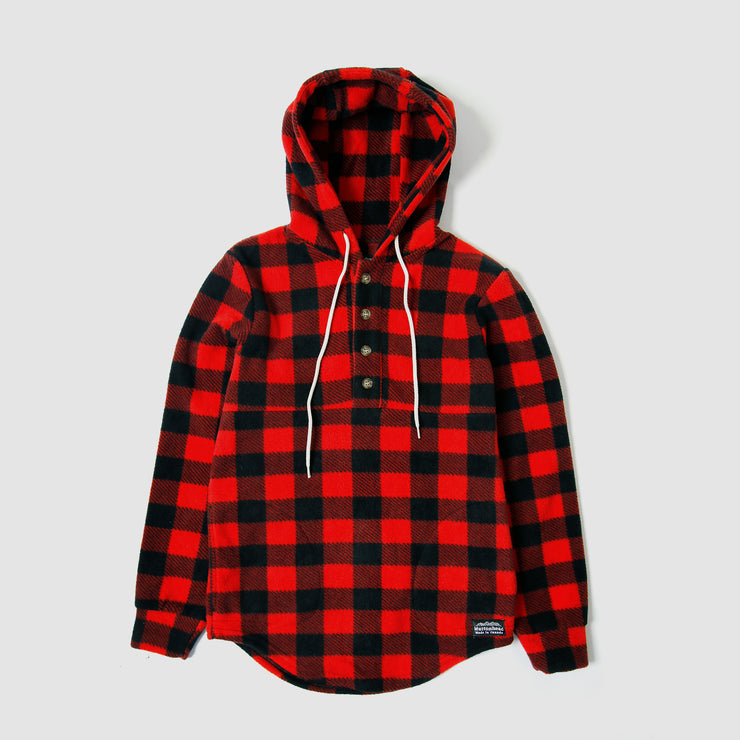 Camping Hoodie -  Red Buffalo Check Polar Fleece