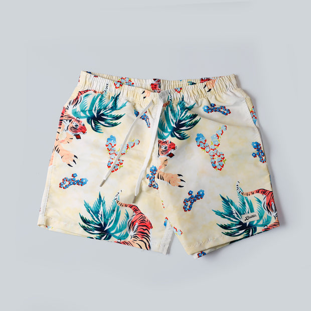 Bather Swim Shorts - Hawaiian Tiger - Beige