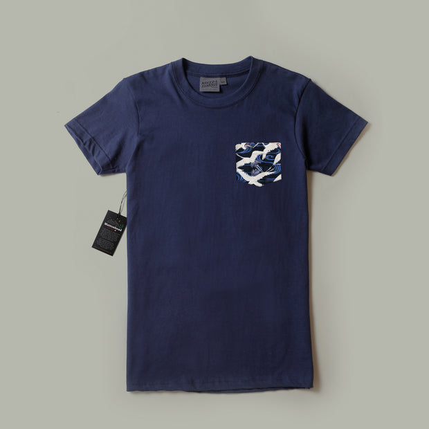 Pocket Tee - Navy - Slub Cranes