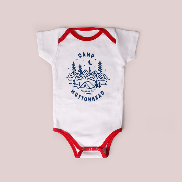 Camp Muttonhead Onesie - White/Red