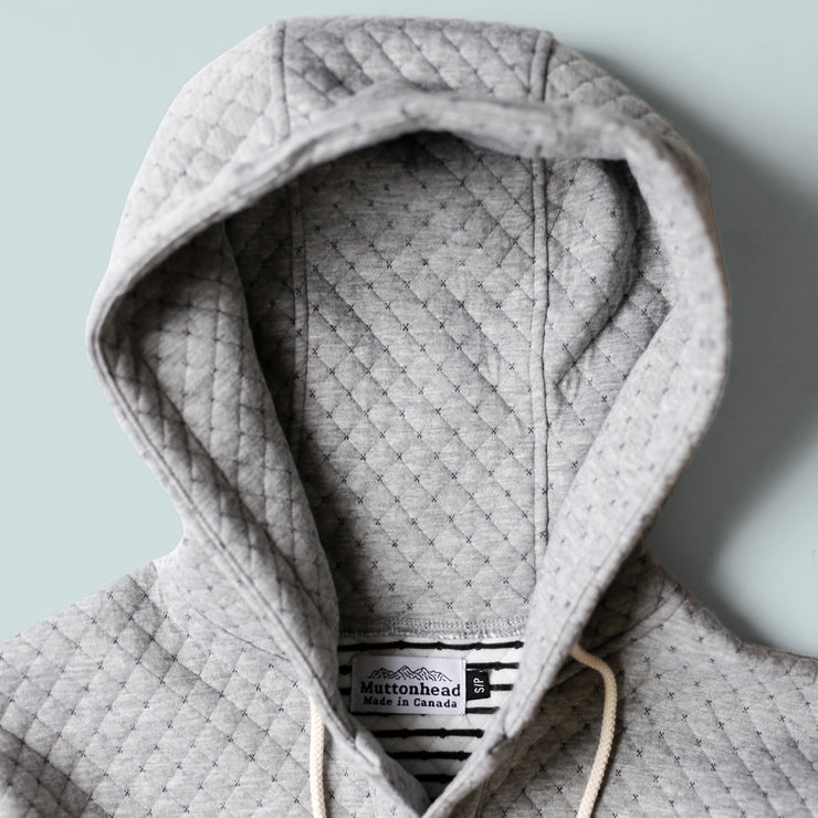 Camping Hoodie - Cross Stitch Quilt Grey