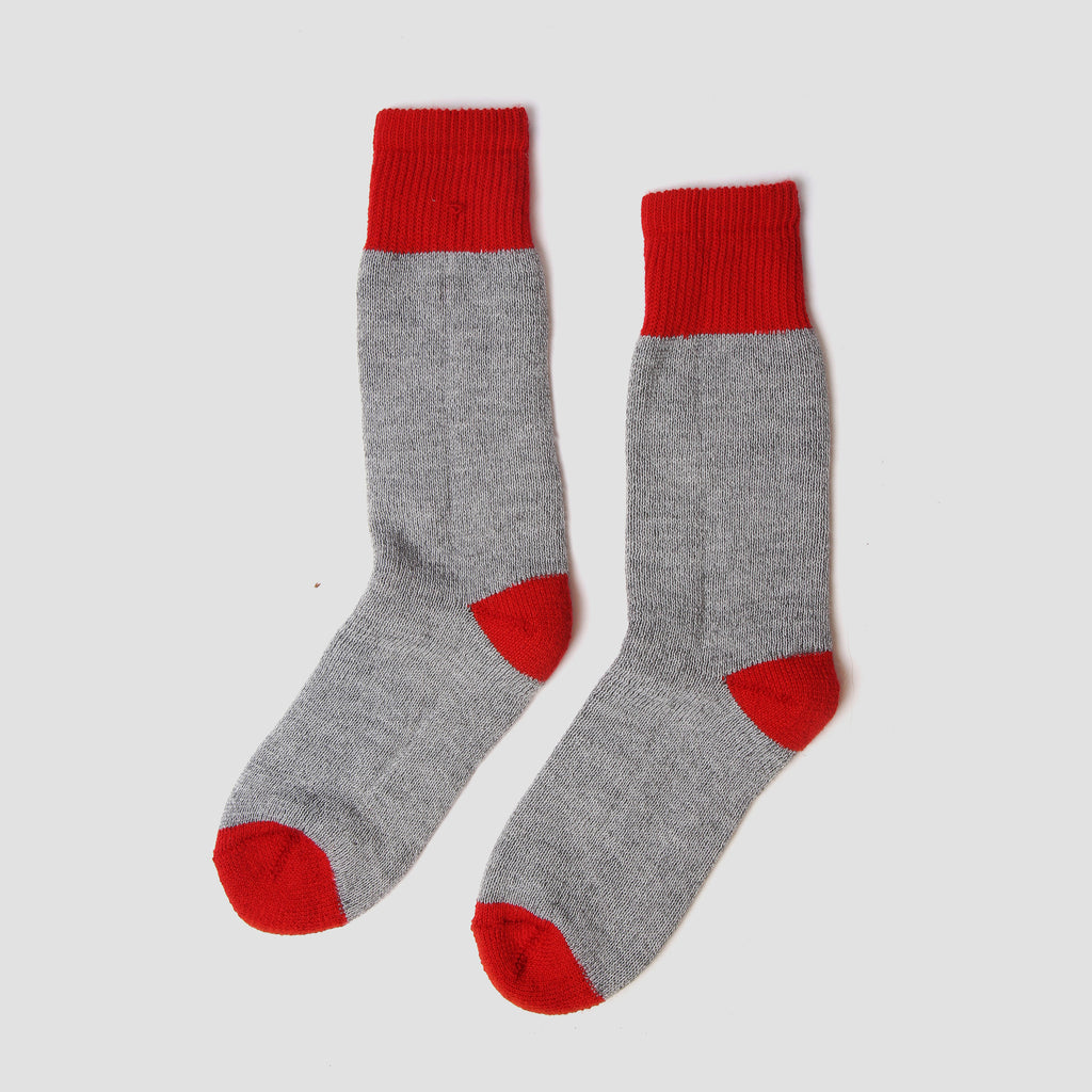 Fireside Socks - Grey Red