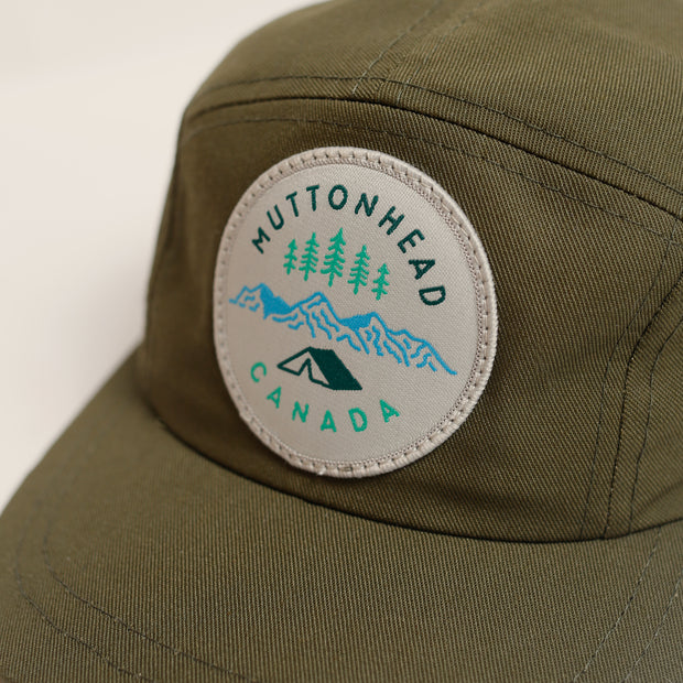 Kids 5 Panel - Camp Patch - Olive Organic Cotton