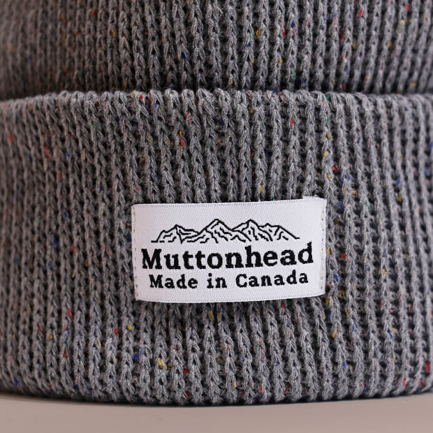 Cotton Knit Toque - Grey Rainbow Speckle