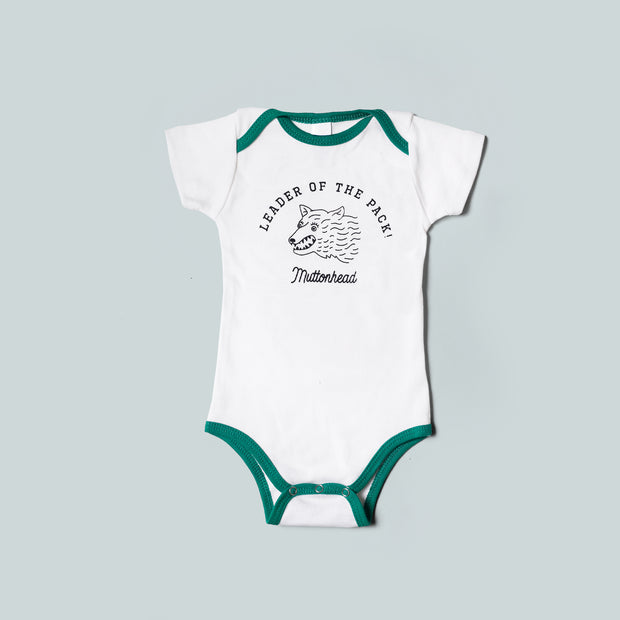 Leader of the Pack Onesie - White/Green