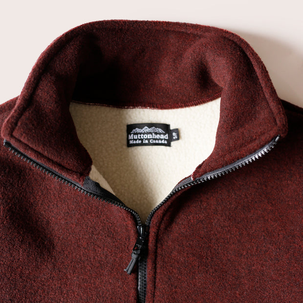 Alpine 1/4 Zip Dual Layer Sherpa - Heather Maroon