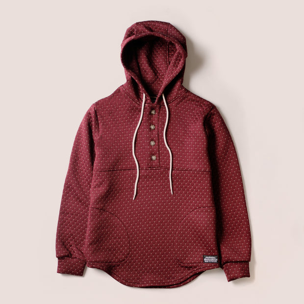 Camping Hoodie - Cross Stitch Quilt Maroon