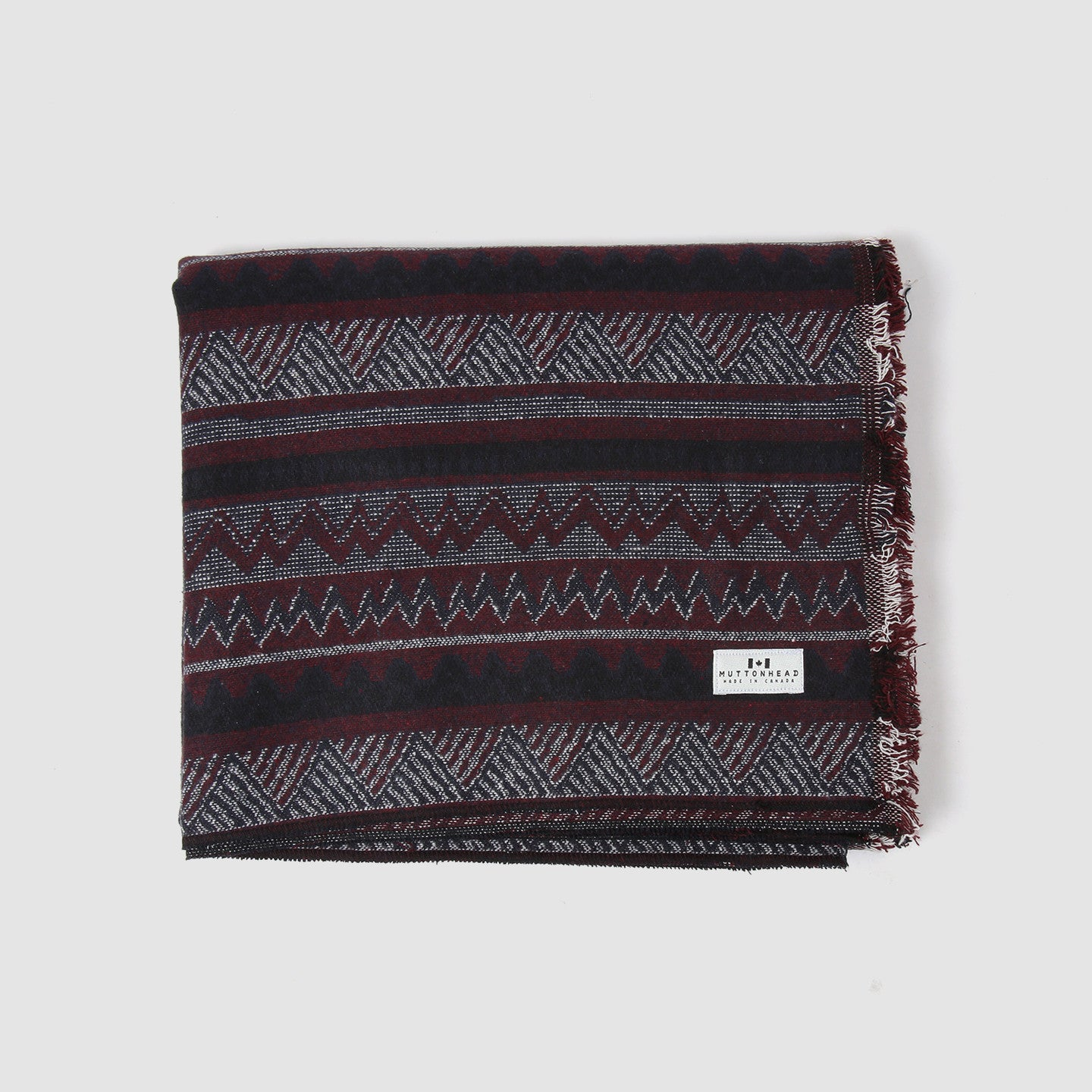 Log House Blanket - Maroon & Navy