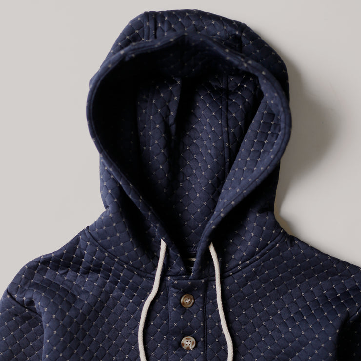 Camping Hoodie - Cross Stitch Quilt Navy
