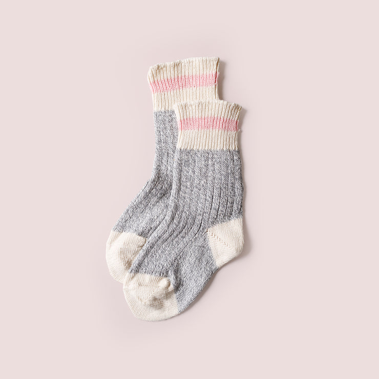 Kids Cotton Mountain Socks  - Pink Stripe