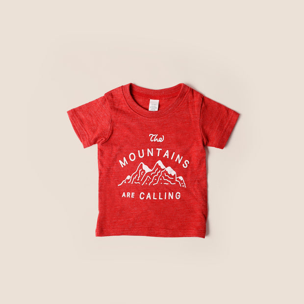 Baby Recycled Tee - Mountains Are Calling - Heather Red