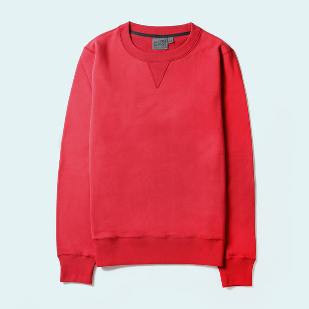 Naked & Famous Crewneck - Heavyweight Terry - Red