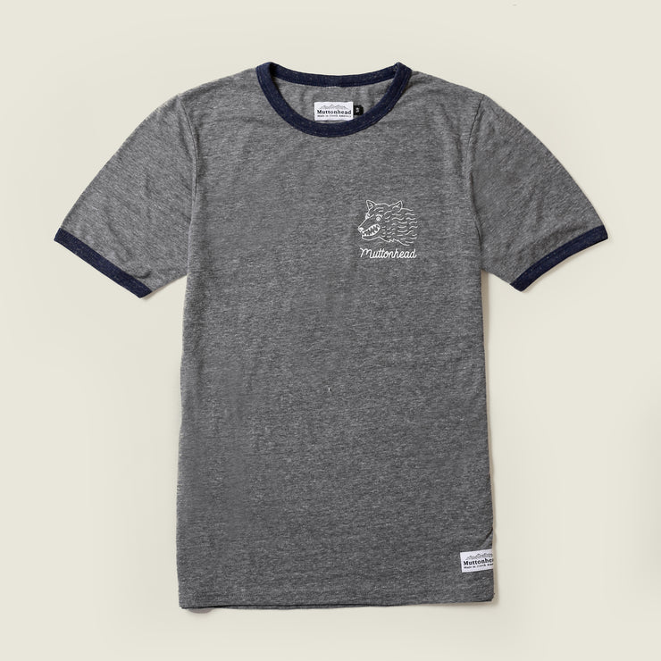 Mutt Dog Ringer Tee - Grey