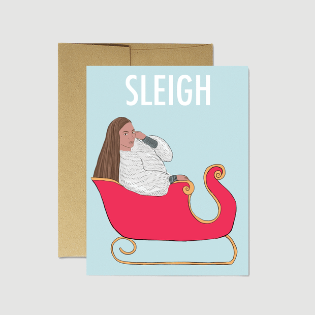 Beyonce Sleigh Card - Party Mountain Paper Co.