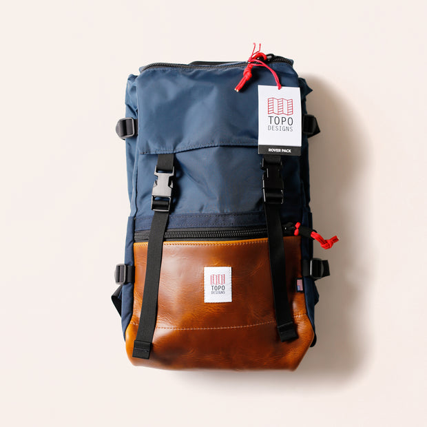 Topo Rover Pack - Navy/Brown Leather