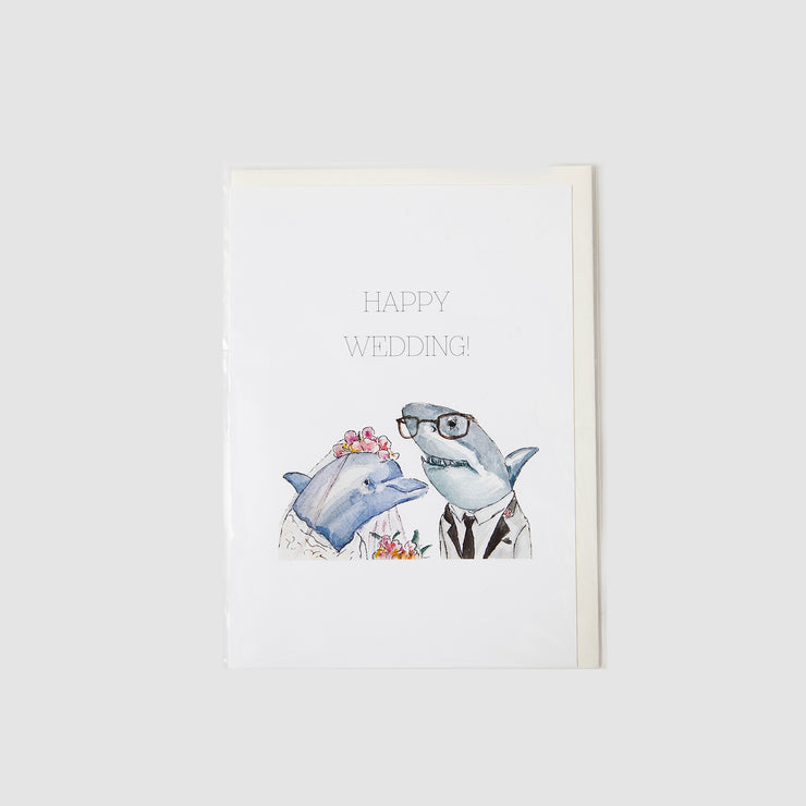 Happy Wedding - Shark + Dolphin Card - Gloria Ho Illustrations