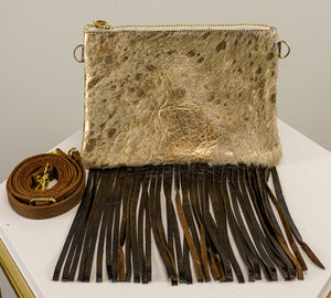 GOLD COWHIDE CROSSBODY